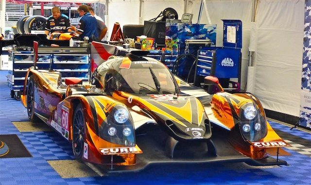 The #60 Michael Shank Racing with Curb-Agajanian Honda-powered Ligier JS-P2 prototype has the most beautiful paint job I've ever seen. Except it's not paint: It's an applique!
