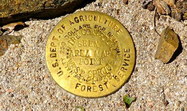 Beautiful brass West Spruce Mountain benchmark. I don't recall seeing a benchmark with a month & day as part of the datestamp.