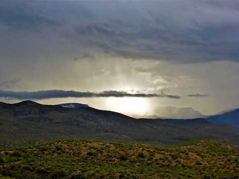 Sun trying to peak through clouds over the Salt River Canyon,