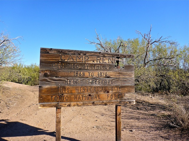 Scottsdale Boy Scout Troop 644 erected this sign in 1987. It is actually located next the ranch, rather than Camp Reno.