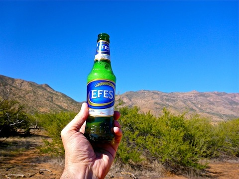 Efes Beer, with Reno Pass (left) and Mount Ord (right) in the background. I bought the Efes at an Asian market in Houston, last year, and was saving it for an appropriate military occasion. Veterans Day was it!