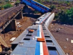Amtrak's Sunset Limited derailed in Quail Spring Wash on October 9, 1995. This photo is looking east, the direction the train came from.