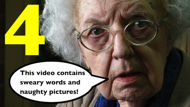This vdeo contains sweary words and naughty pictures.