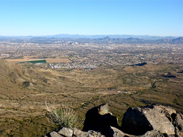 Looking north from the summit of Goat Hill. That's a quarter midget track in the valley, just off Central Ave. Downtown in the distance. Left to right, behind downtown, you can make out Shaw Butte, North Mountain, Piestewa Peak, and the west slope of Camelback.