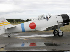 An AT-6 Texan done up as a Mitsubishi A6M Zero of the Imperial Japanese Navy.