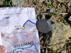 H+B benchmark on Hill 1655, overlooking Alamo Dam and the Bill Williams National Wildlife Refuge.
