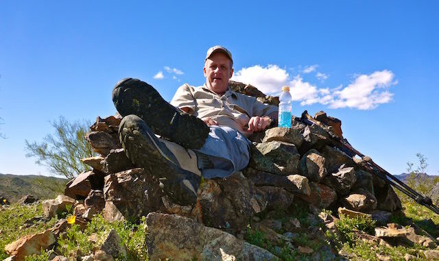 "Enjoying the ""easy chair"" on top of Williams Benchmark."