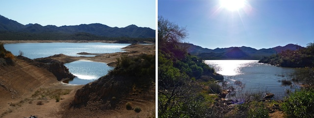 Bartlett Lake water levels in January, 2012 (left), and March, 2017 (right). The lake is currently at 96% capacity.