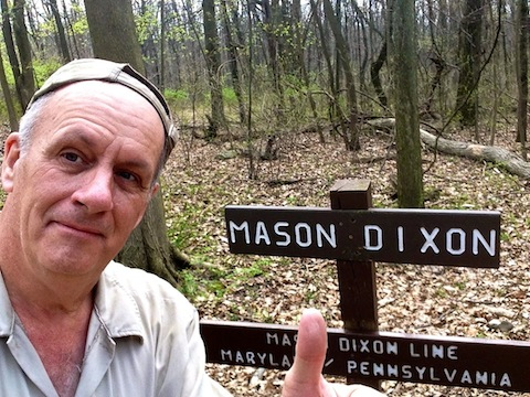 Crossing the Mason-Dixon Line (also known as the border between Maryland and Pennsylvania).