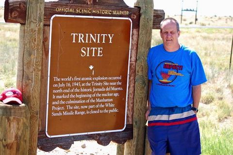The Trinity Site historical marker on US-380. By sheer coincidence, I was wearing a Meteor Crater t-shirt. (The Meteor Crater impact released 1000 times the energy of the Trinity Test.)