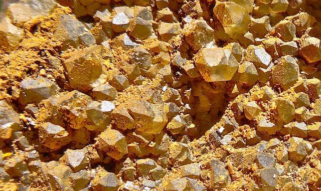 Hundreds of tiny crystals on this mineral, near Sunrise Mine on Porter Mountain.