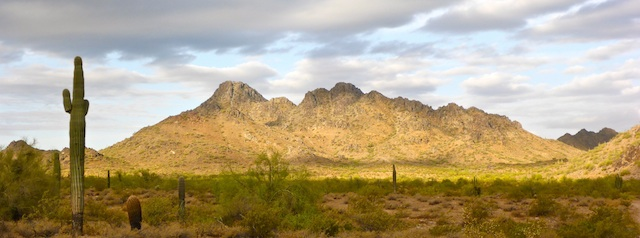 Piestewa Peak bathed in brief early morning sun.