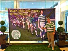 Posing with the Lisbon Lions display in the Westgate lobby.