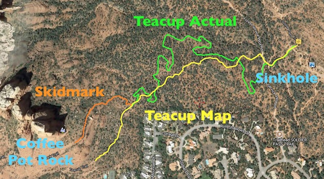 The actual location of Teacup Trail vs. where the map claims it is.