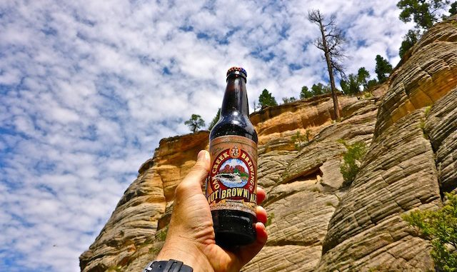 Saluting Fisher Point with an Oak Creek Nut Brown Ale.