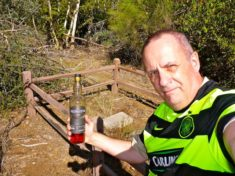 Wearing my Glasgow Celtic shirt at Davey Gowan's Grave on Deer Creek in the Mazatzal Mountains.