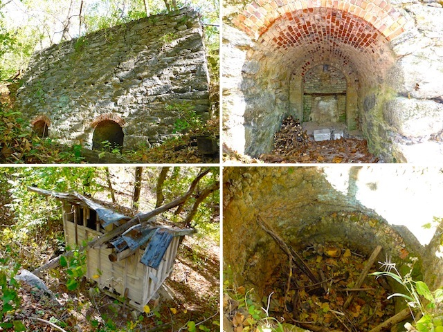 Dargan Bend lime kiln (clockwise from upper left): Oven wall; note the beam holes. Inside a brick-lined oven. Debris-filled chimney. Coal bin.