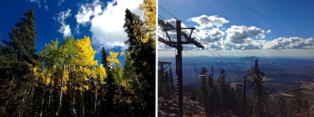 Rich fall color on the way up the Arizona Snowbowl ski lift (left). A stunning view west (right).