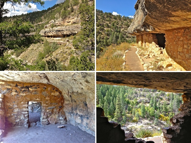 Almost all of Walnut Canyon's dwellings were on the same level, easing travel (upper left). The paved Island Trail is a steep 185 ft. to the more accessible dwellings (upper right). Inside one of the cliff dwellings (lower left). Looking out, at dwellings on the south side of Walnut Canyon (lower right).