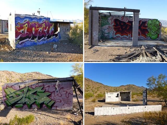 "The ""Graffiti Ranch"", then (2015) & now. Clockwise from upper left: 1) Looking south at standing building. 2) Looking south at partial building. 3) Looking north, at other side of partial building. 4) Looking north, past remains of partial building, towards standing building."