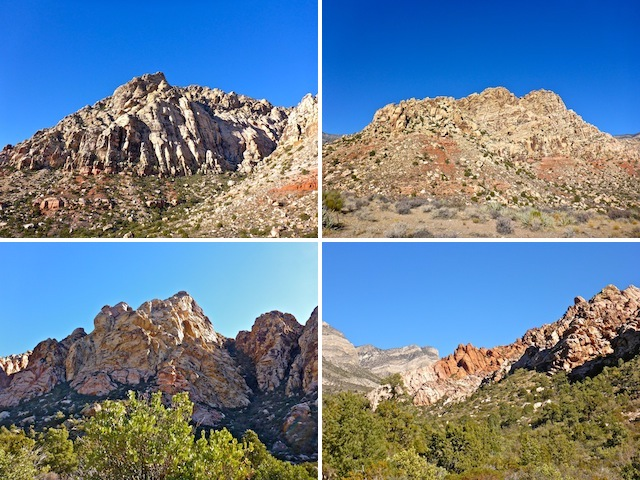 White Rock Hills. Clockwise from top left: East side of the peak, south side of the peak, west side of the hills, and red outcropping at the north end.