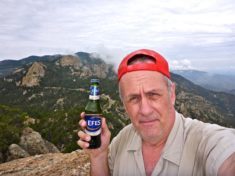 Enjoying an Efes beer on the Green Mountain OP overlooking the Catalina Highway.